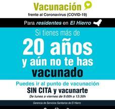 Si vives en El Hierro, tienes más de 20 años y no te has vacunado pide cita