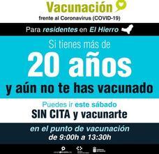 Los residentes en El Hierro mayores de 20 años pueden vacunarse este sábado sin cita previa
