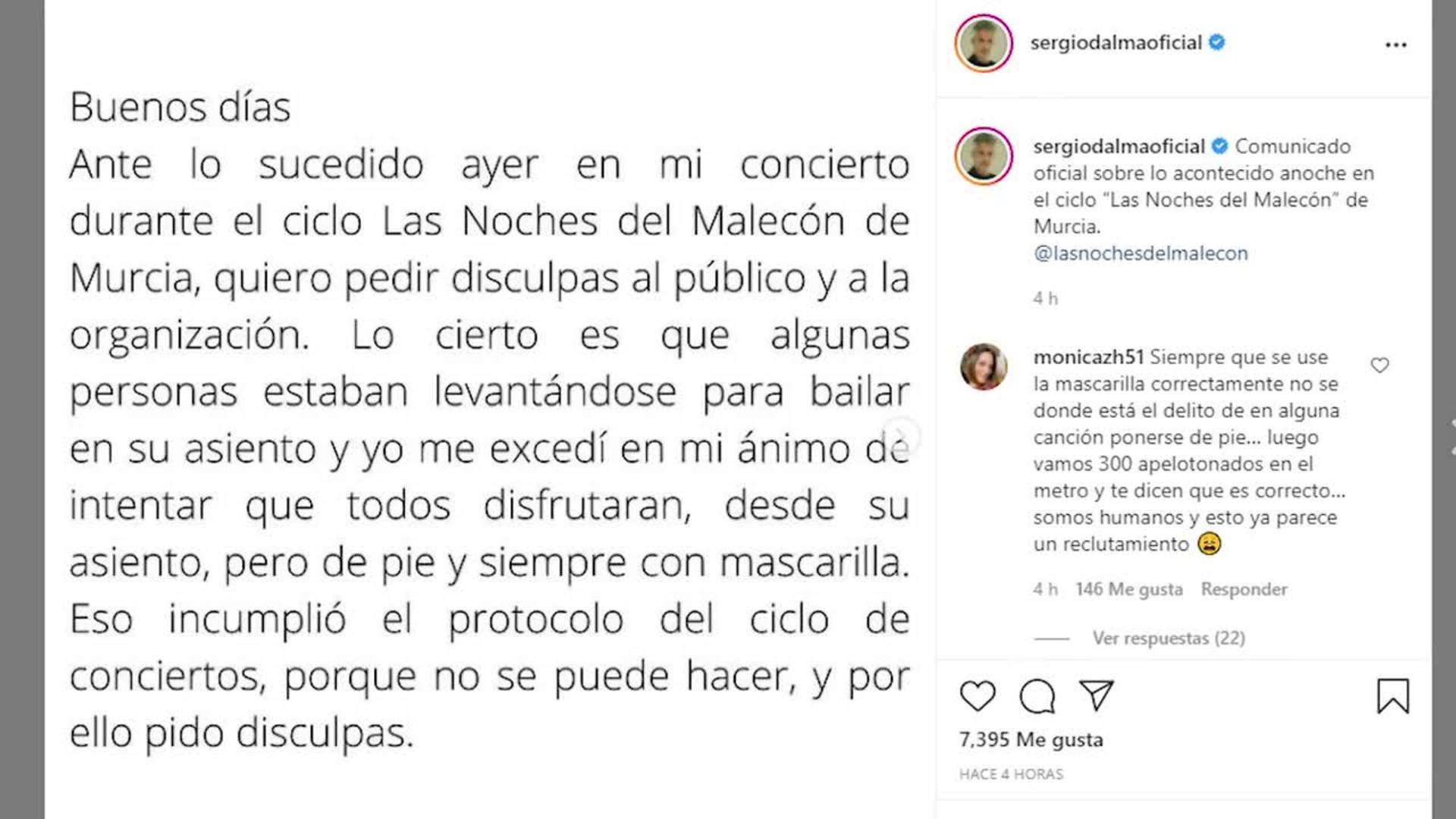 Sergio Dalma pide disculpas tras la polémica en su concierto