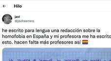 Escribe una redacción sobre la homofobia y la respuesta de su profesora se hace viral